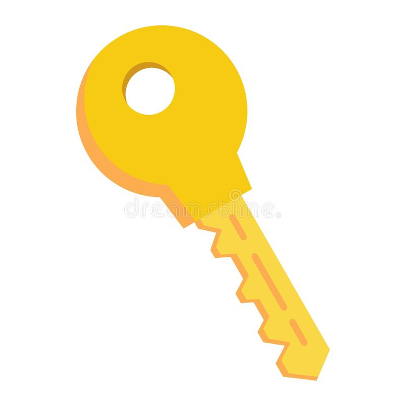 Key flat icon, security and password stock illustration