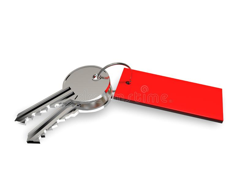 Key with fob on white background 3D rendering royalty free illustration