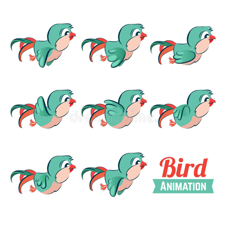 Key Frames Animation Of Bird Flying. Cartoon Zoo Vector Illustration ...