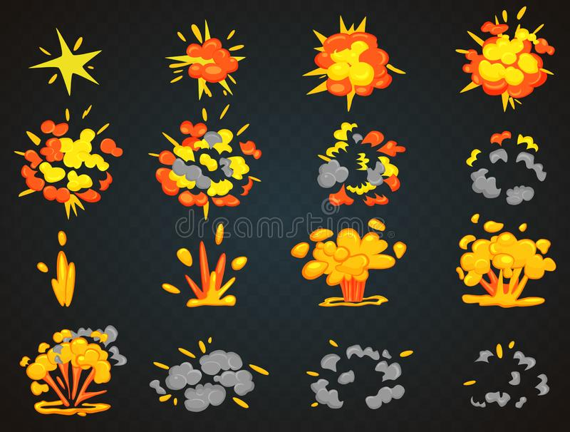 Key frames of bomb cartoon explosion animation. Bang top and front view vector illustration. royalty free illustration