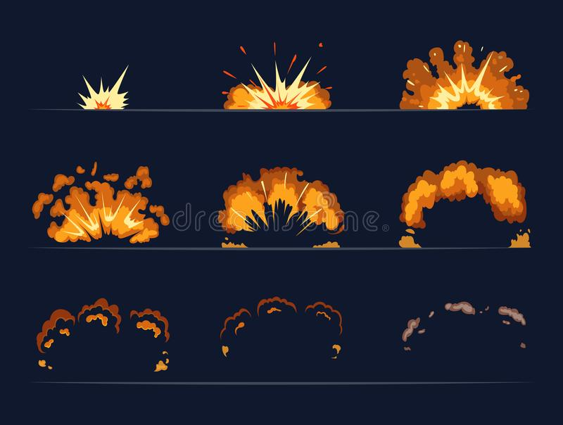 Key frames of bomb explosion. Cartoon illustration in vector style stock illustration