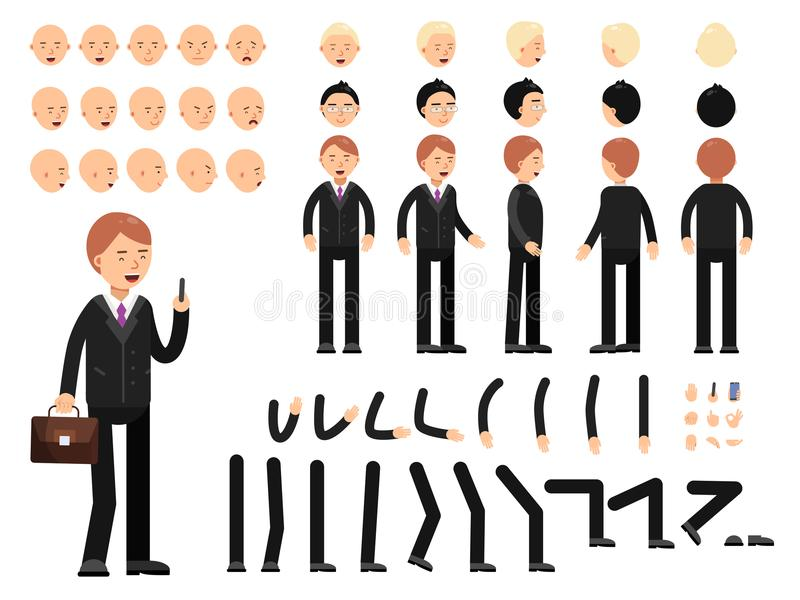 Key frames of business characters. Creation mascot kit. Vector constructor royalty free illustration
