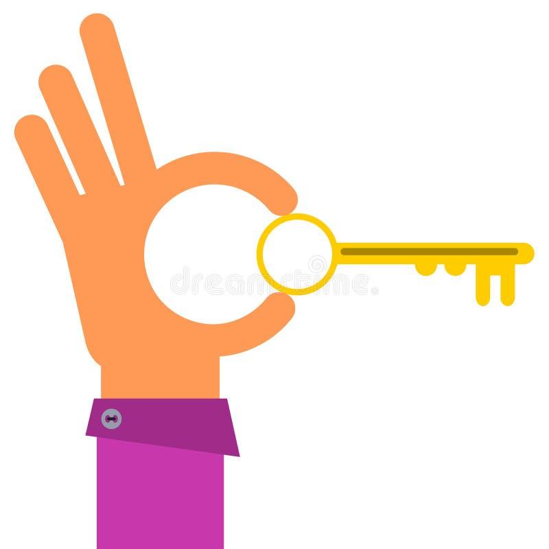 Key with hand. A cartoon hand holding a key vector illustration