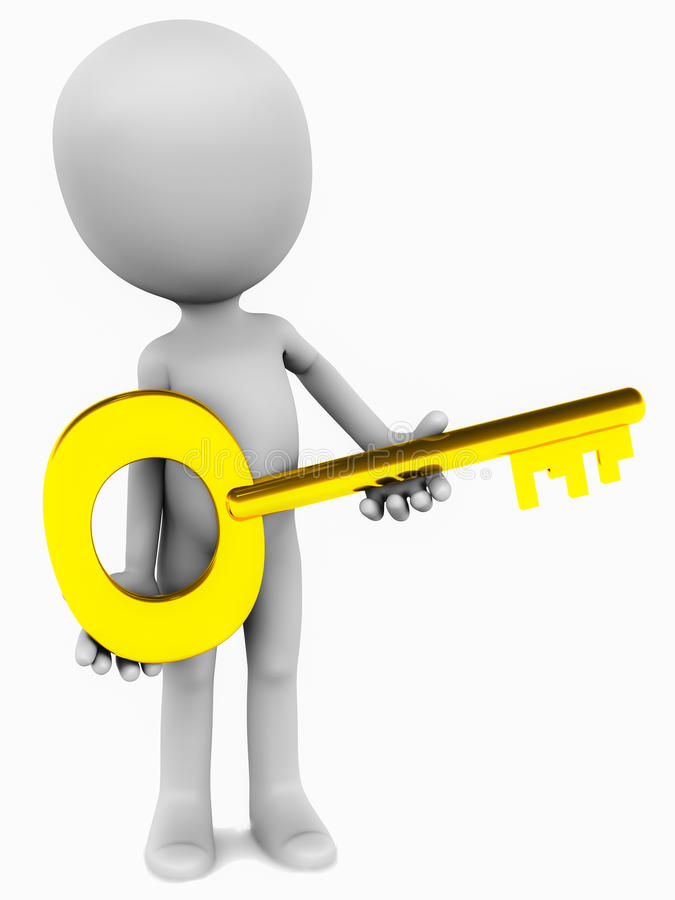 Key in hands. A golden key, held in hands by a little 3d man on white background vector illustration