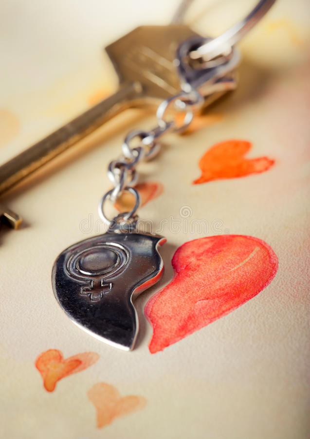 Key with heart. Pendant and romantic letter royalty free stock photos