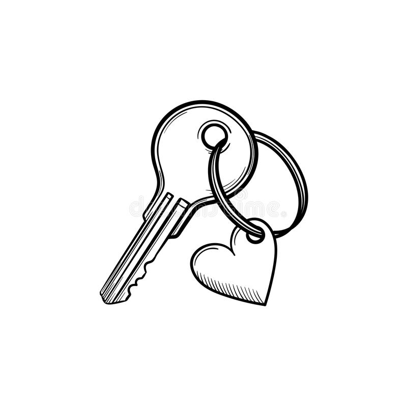 Key with heart shaped keyholder hand drawn outline doodle icon. stock illustration