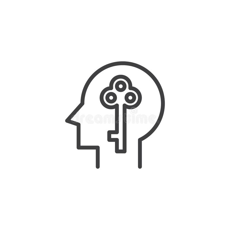 Key in human head outline icon. Linear style sign for mobile concept and web design. Open mind simple line vector icon. Unlock symbol, logo illustration. Pixel royalty free illustration