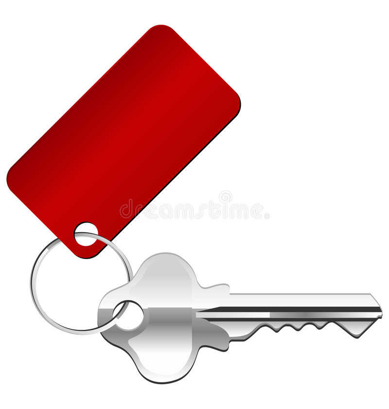 Key icon. Vector key icon with a red label