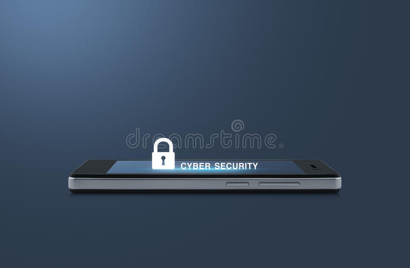 Key icon and cyber security text on modern smart phone screen over light blue background royalty free stock images
