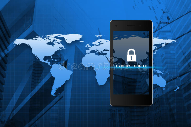 Key icon and cyber security text on modern smart phone screen over map and city tower background, Cyber security concept, Element stock illustration