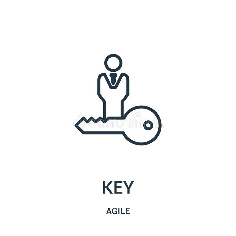 Key icon vector from agile collection. Thin line key outline icon vector illustration. Linear symbol for use on web and mobile apps, logo, print media vector illustration