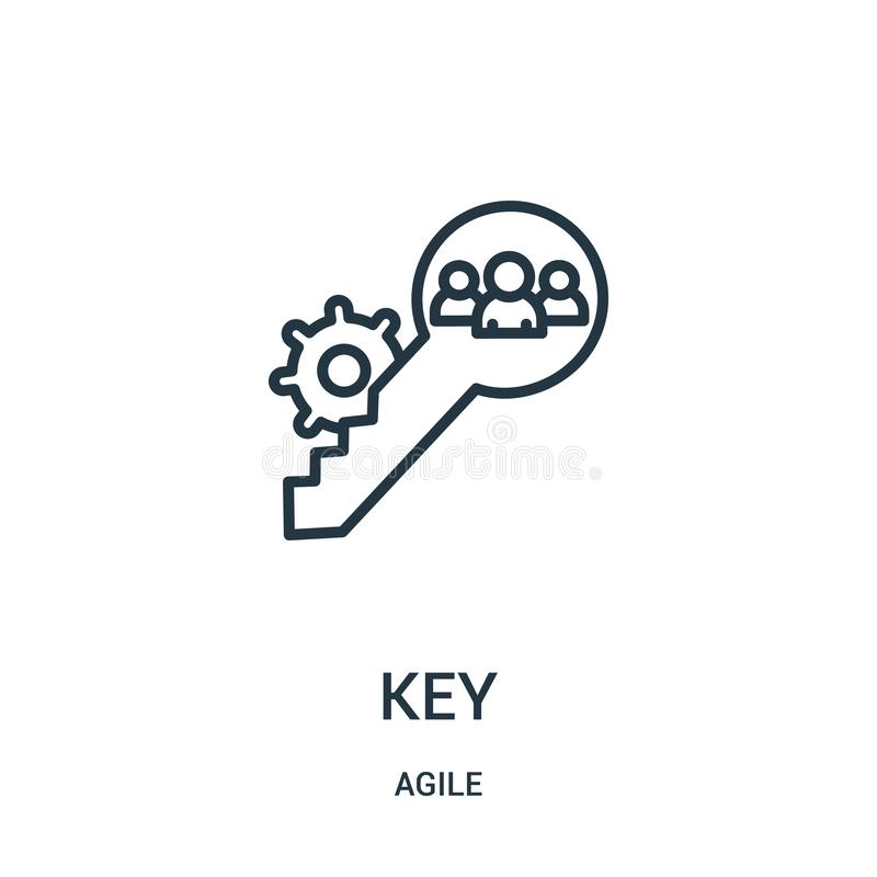 Key icon vector from agile collection. Thin line key outline icon vector illustration. Linear symbol for use on web and mobile apps, logo, print media royalty free illustration