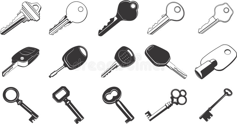 Download Key Illustration Set stock vector. Image of icons, retro - 5330719