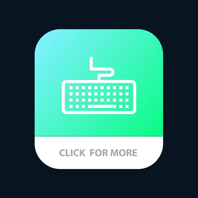 Key, Keyboard, Hardware, Education Mobile App Button. Android and IOS Line Version stock illustration
