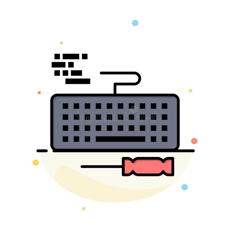 Key, Keyboard, Hardware, Repair Abstract Flat Color Icon Template royalty free illustration