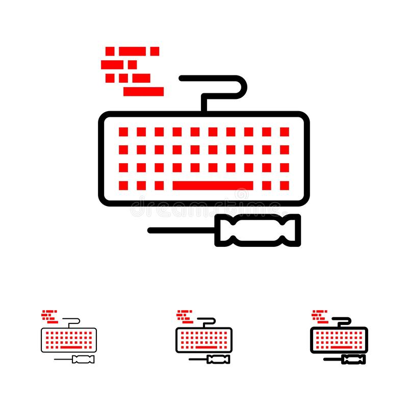 Key, Keyboard, Hardware, Repair Bold and thin black line icon set royalty free illustration