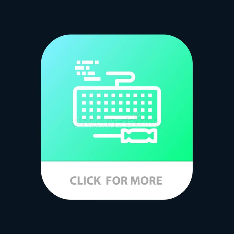 Key, Keyboard, Hardware, Repair Mobile App Button. Android and IOS Line Version royalty free illustration