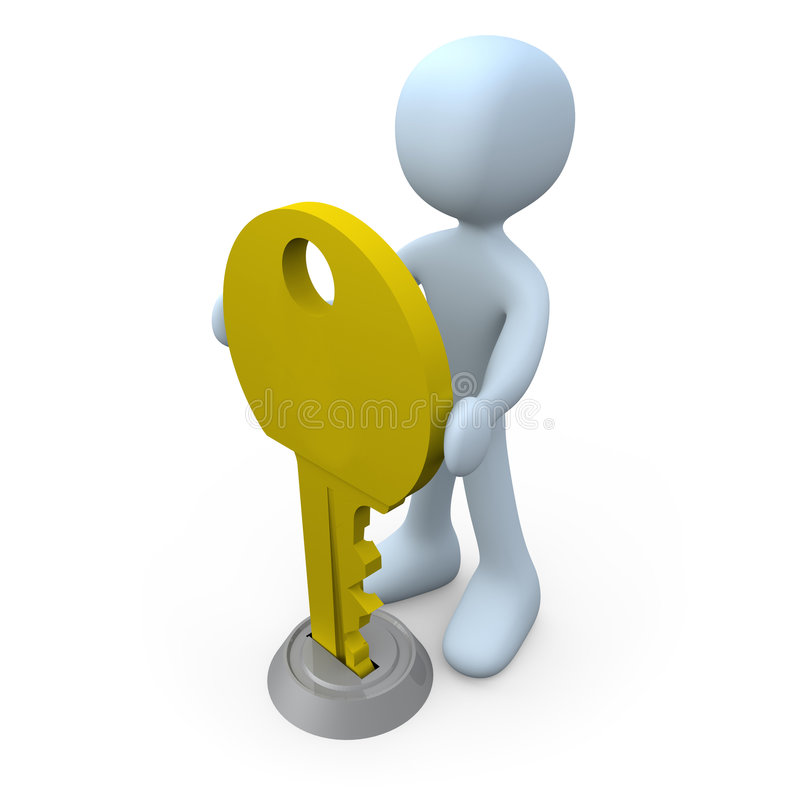 Download Key in Keyhole stock illustration. Image of yellow, keyhole - 1966683