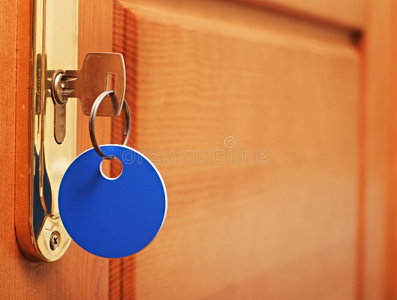 Download Key in keyhole stock image. Image of domestic, macro - 27917655
