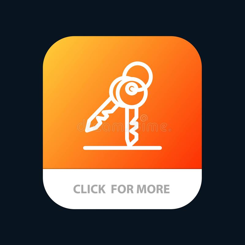 Key, Keys, Security, Room Mobile App Button. Android and IOS Line Version stock illustration