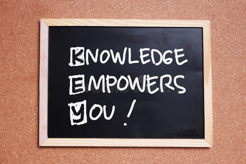 KEY, Knowledge Empowers You, business motivational inspirational quotes royalty free stock photos