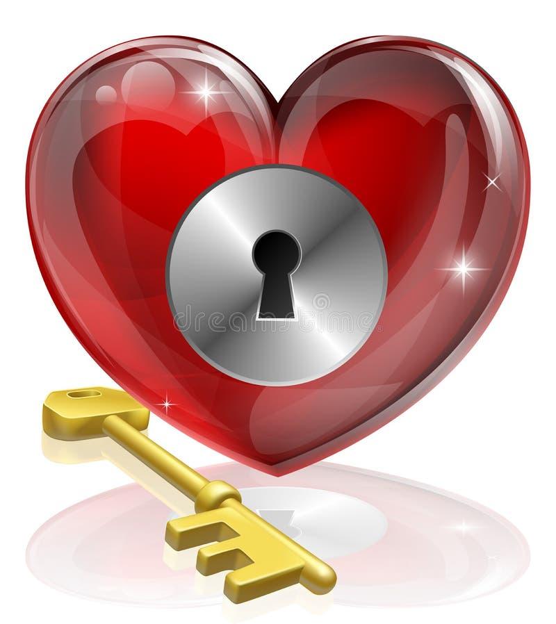 key lås för hjärta royaltyfri illustrationer