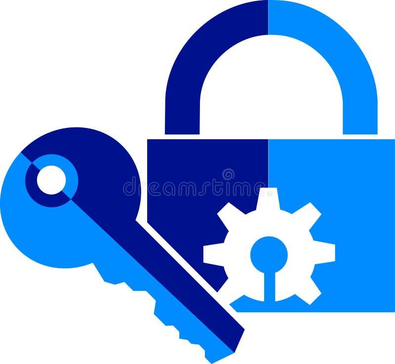 key låslogo royaltyfri illustrationer