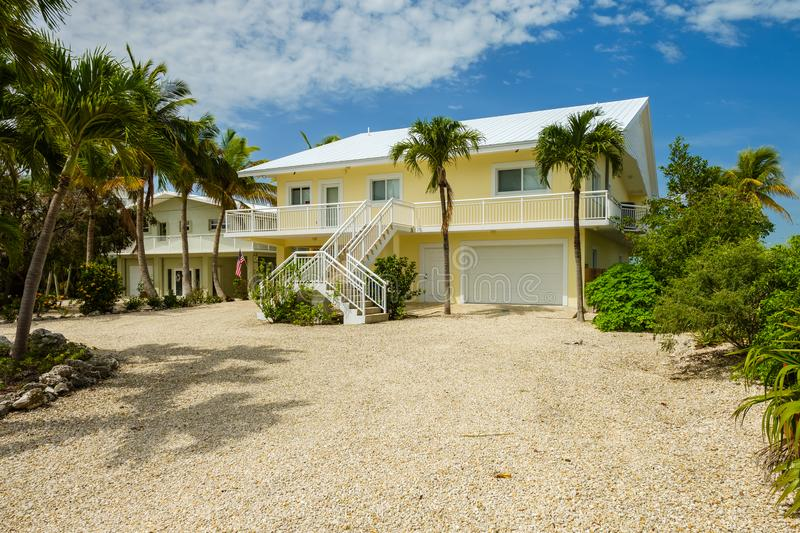 Key Largo Home. Key Largo, Florida - May 30, 2018: Typical waterfront style vacation home in the popular upper Florida Keys near Miami stock photo