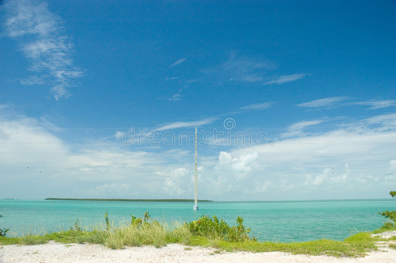 Key largo ocean. A shot to the Atlantic side of US1 in the Key Largo area, Florida. Very vibrant blues royalty free stock image