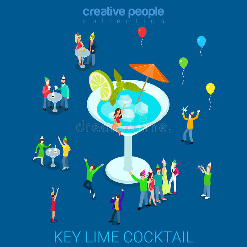 Key lime vermouth cocktail party glass flat 3d isometric vector stock illustration