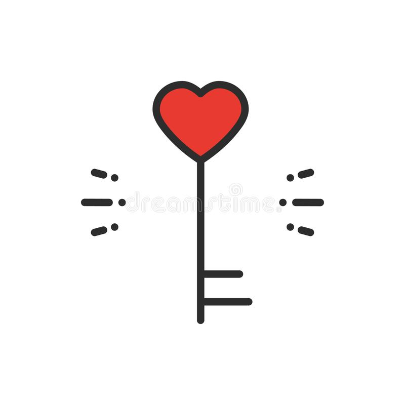 Key line icon. Heart shape. Happy Valentine day sign and symbol. Love couple relationship dating wedding day theme. Key line icon. Heart shape. Happy Valentine stock illustration