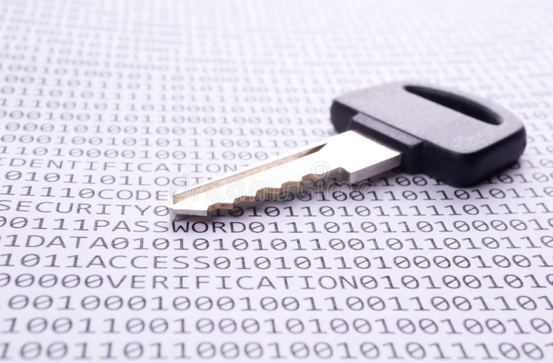 Download Key Is On The List With A Binary Code Stock Photo - Image: 21453632