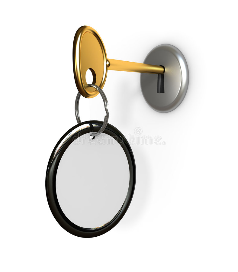 Key in lock. Empty label on a key ring for your text