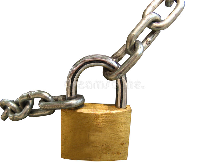 Key lock. Locked with a chain, clipping path stock photography