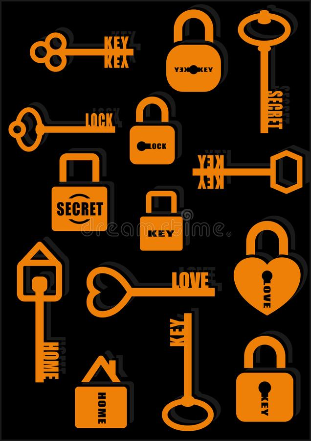 Key and Lock. Secret. Love. Home. Icon set. Vector illustration royalty free illustration