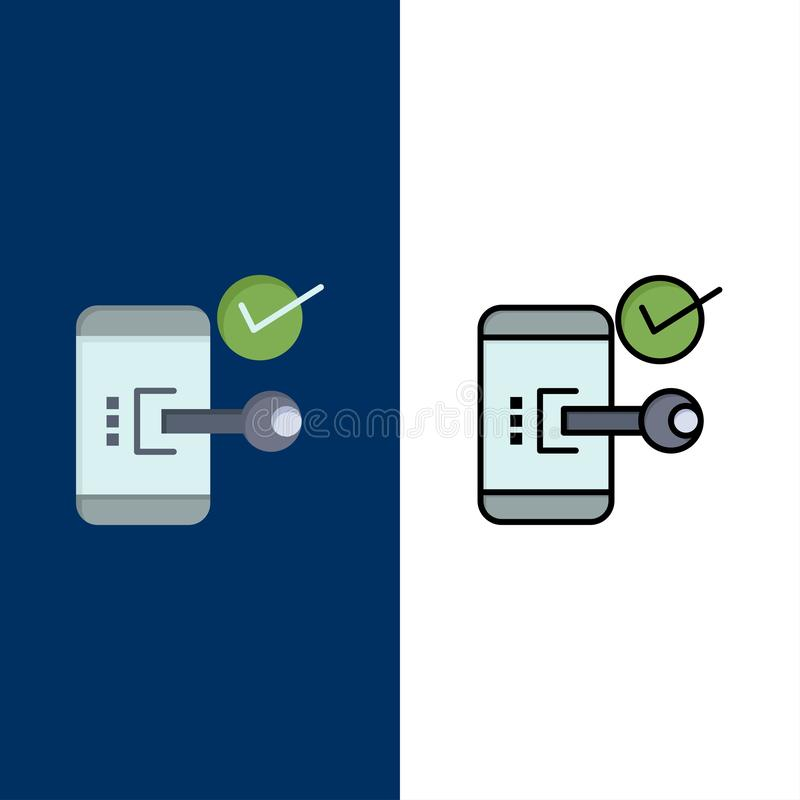 Key, Lock, Mobile, Open, Phone, Security  Icons. Flat and Line Filled Icon Set Vector Blue Background royalty free illustration