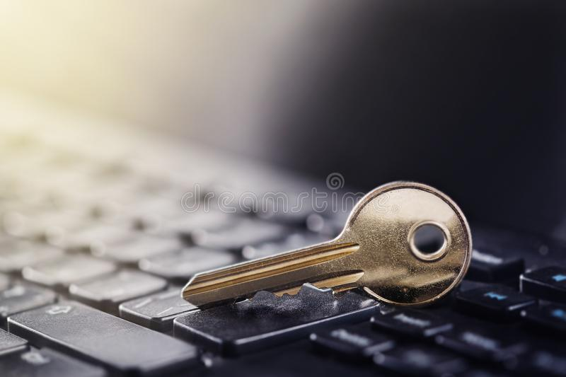 Key lock on PC keyboard. Ð¡oncept of computer security and protection of personal data on Internet. royalty free stock image