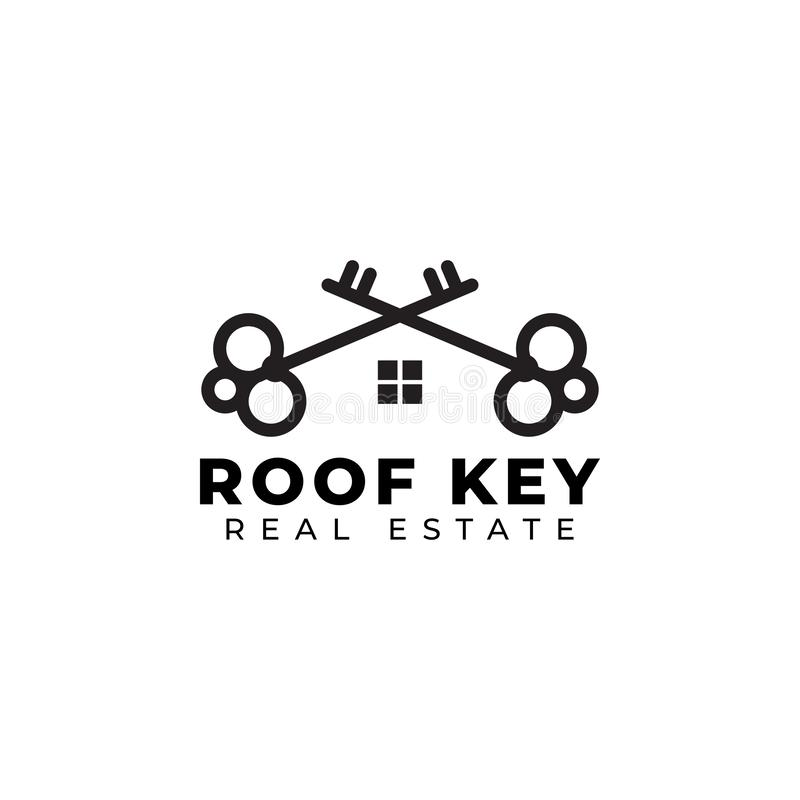 Key logo design template vector isolated illustration. House, home, icon, classic, rent, buy, steel, success, metal, ornate, label, badge, style, royal vector illustration