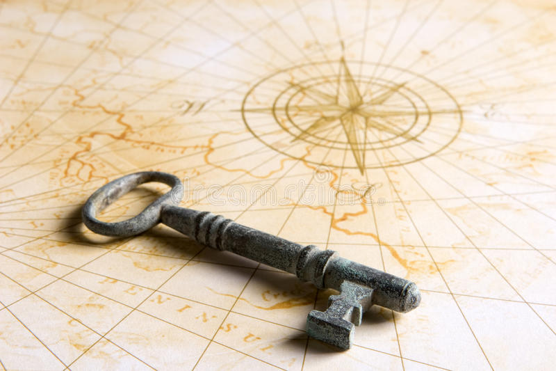 Download Key on map stock image. Image of treasure, vintage, lock - 10780987