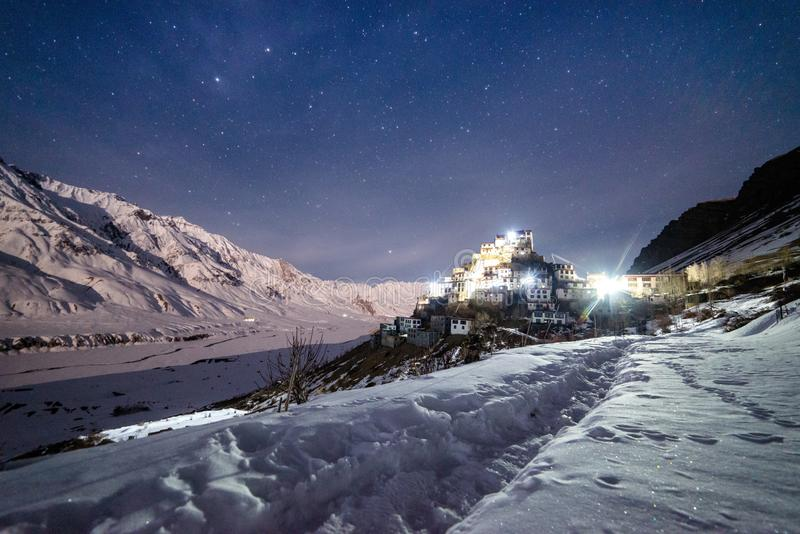 Key Monastery in nights starry sky with full moon - himalayas stock photos