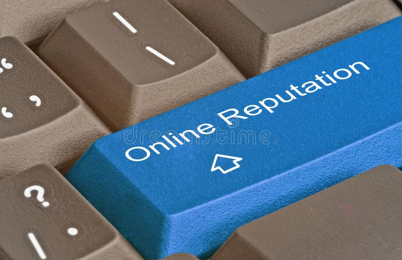 Key for online reputation. Blue Key for online reputation royalty free stock image