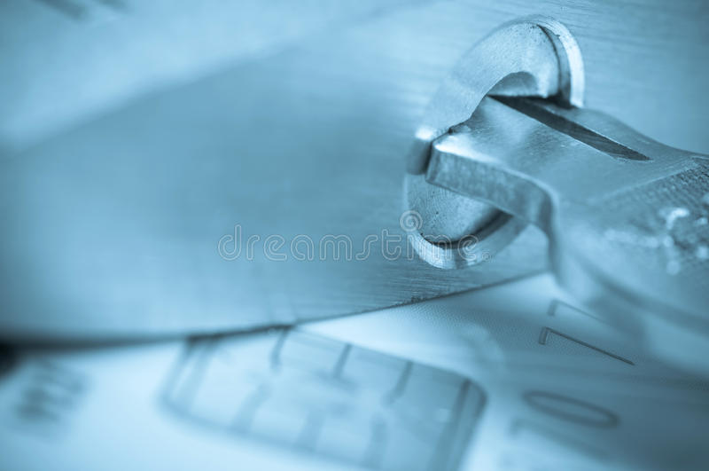 Key and padlock on the credit card