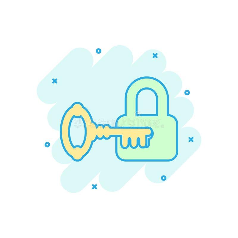 Key with padlock icon in comic style. Access login vector cartoon illustration pictogram. Lock keyhole business concept splash vector illustration