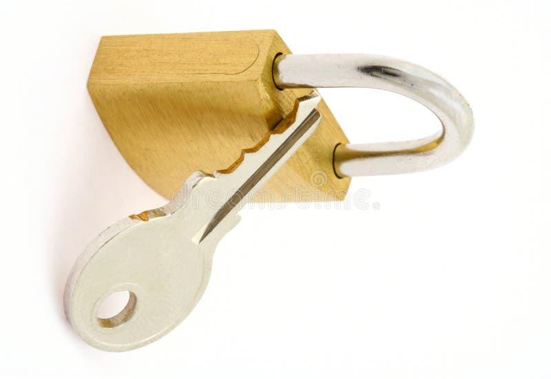 key padlockwhite royaltyfri foto