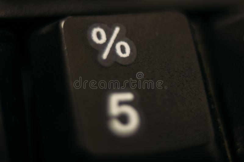 The key of percent on the keyboard stock image