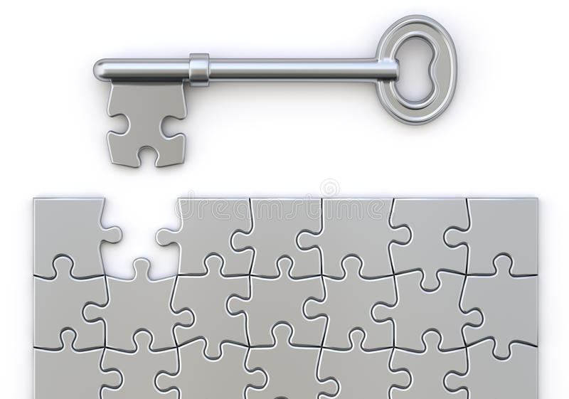 Key with puzzle stock illustration