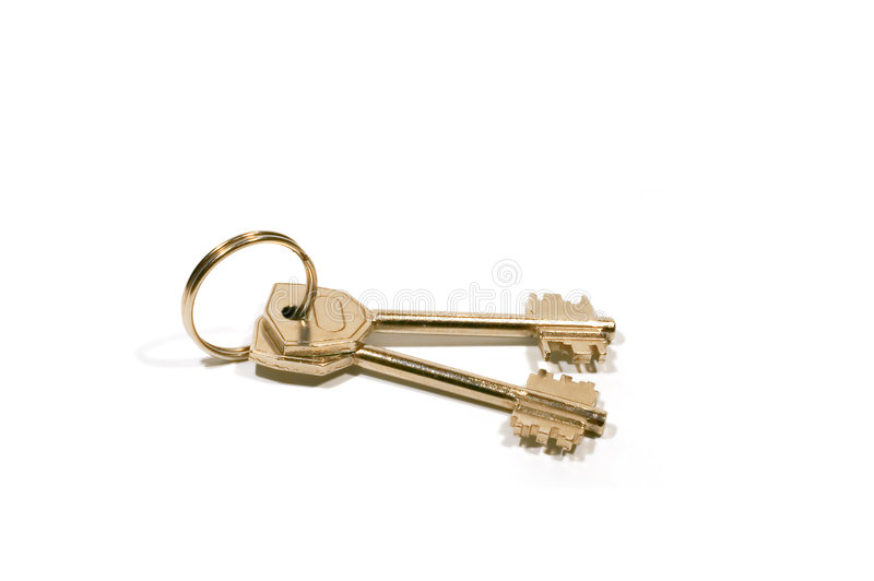 Key with ring. Series: isolated on white: Key with ring royalty free stock photos