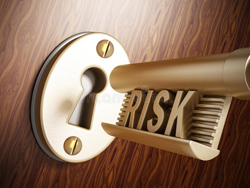 Key with risk word vector illustration