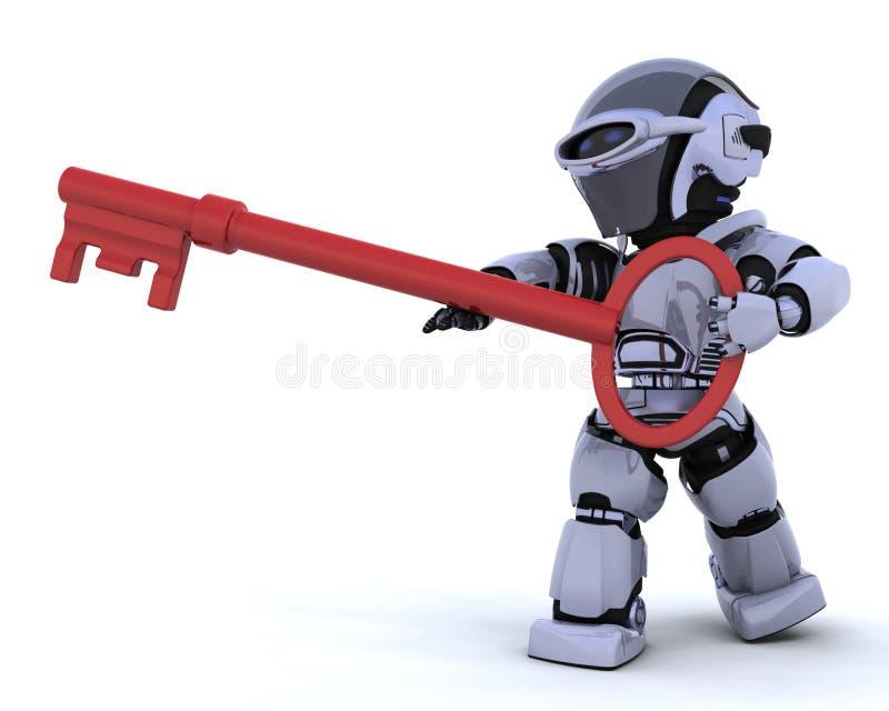 key robot för holding stock illustrationer