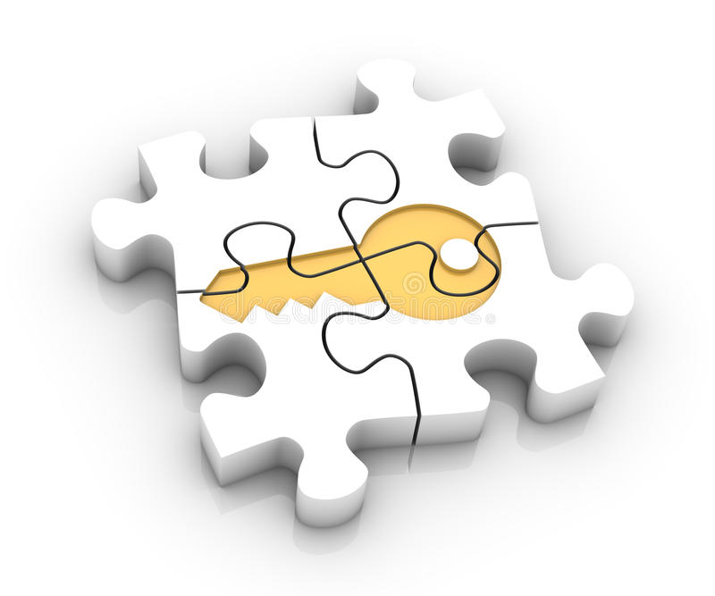 Key solution. Jigsaw puzzle pieces assembled to create a key. Image concept and part of a series royalty free illustration